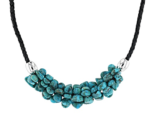 Photo of Southwest Style By JTV™ Free Form Turquoise Nuggets Rhodium Over Silver Leather Cord Necklace - Size 18