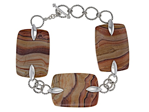 Photo of Southwest Style By JTV™ Yellow Wave Rolling Hills Travertine Rhodium Over Silver 3-Stone Bracelet - Size 7.25