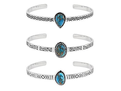 Photo of Southwest Style By JTV™ Kingman Turquoise Rhodium Over Sterling Silver Bracelets. Set Of 3 - Size 8