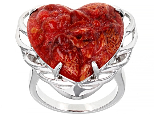 Photo of Southwest Style By JTV™ Carved Heart Red Sponge Coral Rhodium Over Silver Ring - Size 6