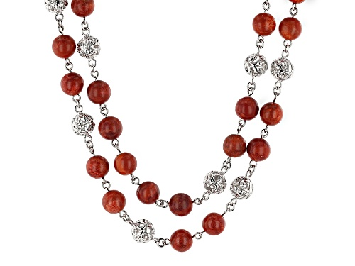 Photo of Southwest Style By JTV™8mm Round Red Sponge Coral Double Strand Rhodium Over Silver Bead Necklace - Size 20