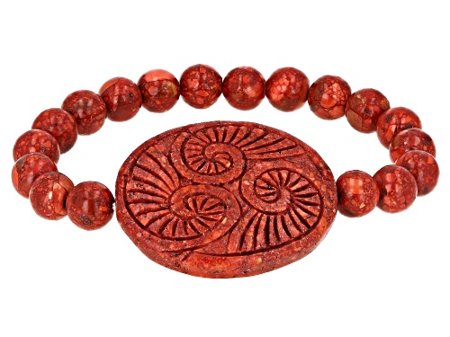 Photo of Southwest Style By JTV™ 38x30mm Carved Oval & 8mm Round Red Sponge Coral Bead Stretch Bracelet