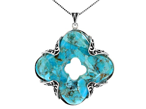 Photo of Southwest Style By JTV™ 37mm Fancy Square Turquoise Rhodium Over Sterling Silver Pendant W/Chain