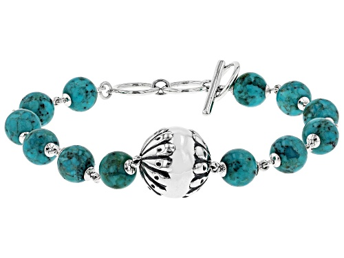 Photo of Southwest Style By JTV™ 8mm Round Turquoise Rhodium Over Sterling Silver Bead Bracelet - Size 8