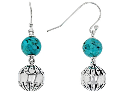 Photo of Southwest Style By JTV™ 8mm Round Turquoise, Rhodium Over Sterling Silver Bead Dangle Earrings