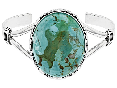Photo of Southwest Style By JTV™ 40x30mm Oval Turquoise Solitaire Rhodium Over Sterling Silver Cuff Bracelet - Size 7.5