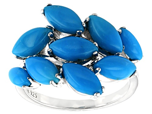 Photo of Southwest Style By JTV™ 8x4mm & 6x3mm Marquise Sleeping Beauty Turquoise Rhodium Over Silver Ring - Size 8