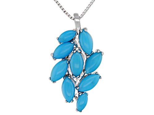 Photo of Southwest Style By JTV™ Marquise Turquoise Rhodium Over Sterling Silver Pendant With Chain