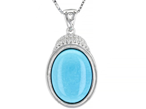 Photo of Southwest Style By JTV™ 16x12mm Oval Sleeping Beauty Turquoise Rhodium Over Silver Pendant W/Chain