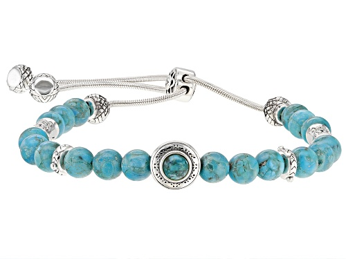"Photo of Southwest Style By JTV™ 5 & 6mm Round Turquoise Rhodium Over Silver Bolo Bracelet Adjusts 6""-9"""