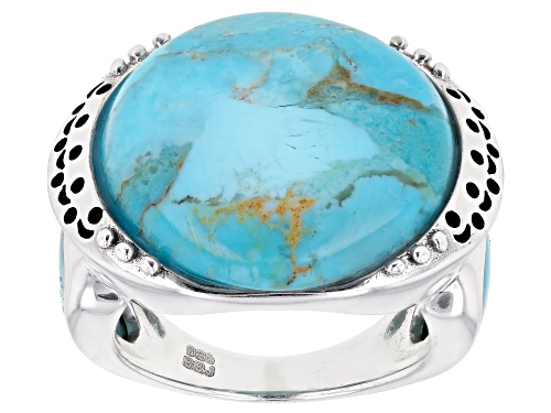 Photo of Southwest Style By JTV™ 20mm Round And 11x8mm Pear Shape Turquoise Rhodium Over Silver Ring - Size 6