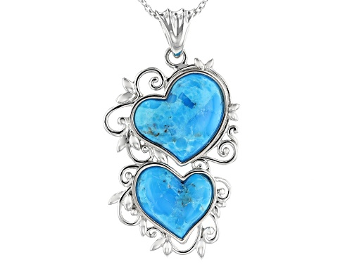 Photo of Southwest Style By JTV™ 16mm & 14mm Heart Shape Turquoise Rhodium Over Silver Pendant W/Chain