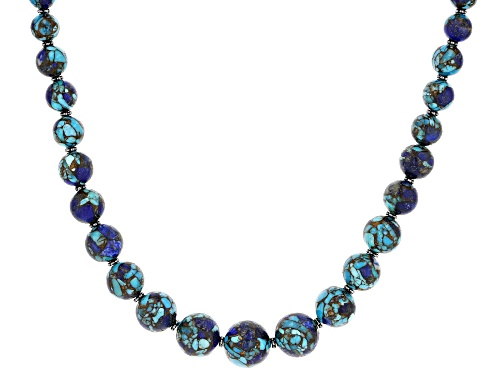 Photo of Southwest Style By JTV™ Turquoise Blended With Lapis Lazuli Rhodium Over Silver Bead Necklace - Size 17