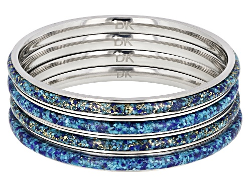 Photo of Southwest Style By JTV™ Turquoise Blended With Lapis Lazuli Stainless Steel Bracelet. Set of 4 - Size 8