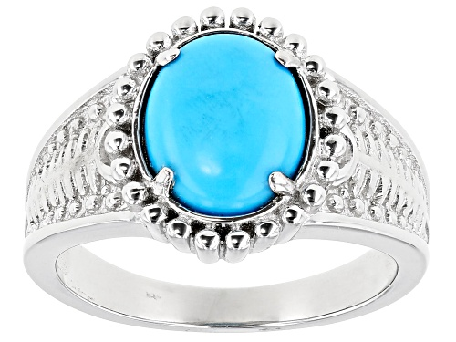Photo of Southwest Style By JTV™ 10x8mm Oval Sleeping Beauty Turquoise Solitaire Rhodium Over Silver Ring - Size 8