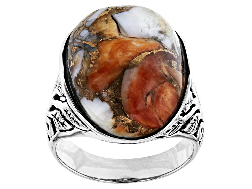Photo of Southwest Style By JTV™ Oval Spiny Oyster Shell Rhodium Over Sterling Silver Ring - Size 8