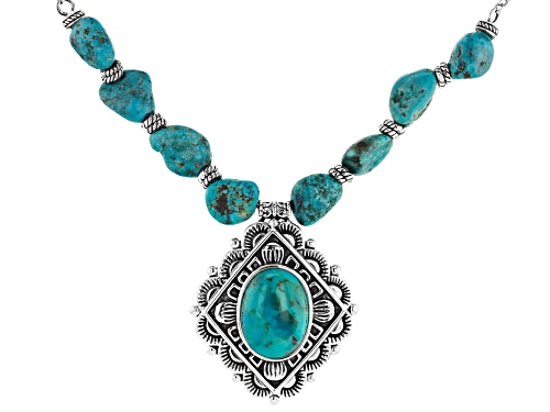 Photo of Southwest Style By JTV™ Free-Form Nugget & Oval Turquoise Rhodium Over Silver Bead Necklace - Size 18