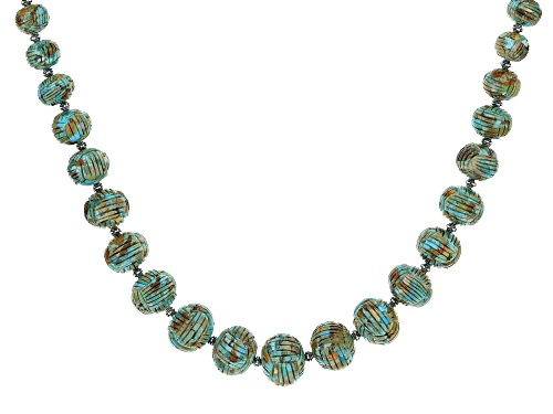 Photo of Southwest Style By JTV™ Graduated 6x5mm-20x15mm Turquoise Rhodium Over Silver Bead Necklace - Size 26