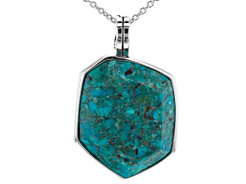 Photo of Southwest Style By JTV™ Custom Turquoise Solitaire, Rhodium Over Sterling Silver Enhancer W/Chain