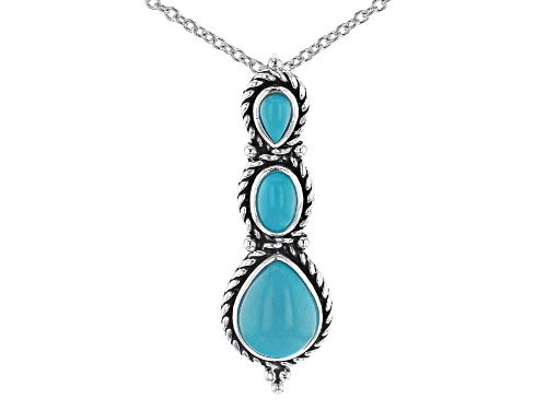 Photo of Southwest Style By JTV™ Mix Shape Turquoise Rhodium Over Sterling Silver Pendant With Chain