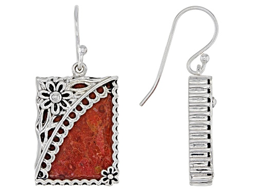 Photo of Southwest Style By JTV™ 18x13mm Red Sponge Coral Rhodium Over Sterling Silver Floral Earrings.