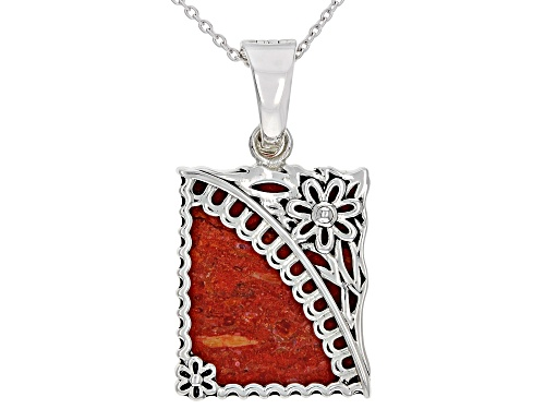 """Photo of Southwest Style By JTV™ 25x20mm Red Sponge Coral Rhodium Over Silver Enhancer With 18"""" Chain"""