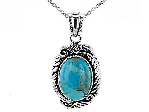 "Photo of Southwest Style By JTV™ 18x13mm Oval Turquoise Rhodium Over Silver Enhancer With 18"" Chain"