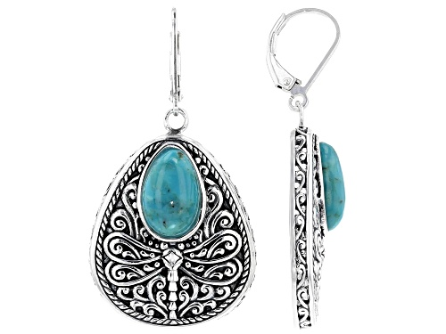 Photo of Southwest Style By JTV™ 12x8mm Pear Shape Turquoise Rhodium Over Silver Dragonfly Earrings