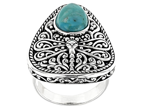 Photo of Southwest Style By JTV™ 12x8mm Pear Shape Turquoise Rhodium Over Silver Dragonfly Solitaire Ring - Size 8