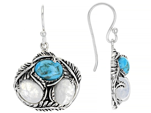 Photo of Southwest Style By JTV™ Oval Turquoise And Rainbow Moonstone Rhodium Over Silver Earrings