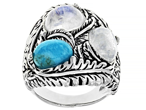 Photo of Southwest Style By JTV™ Turquoise And Rainbow Moonstone Rhodium Over Sterling Silver Ring - Size 8