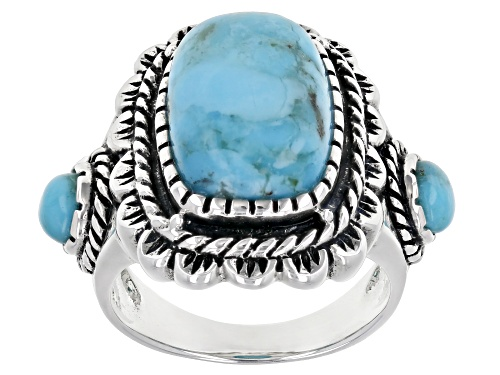 Photo of Southwest Style By JTV™ Mixed Shapes Turquoise Cabochon Rhodium Over Silver Ring - Size 10