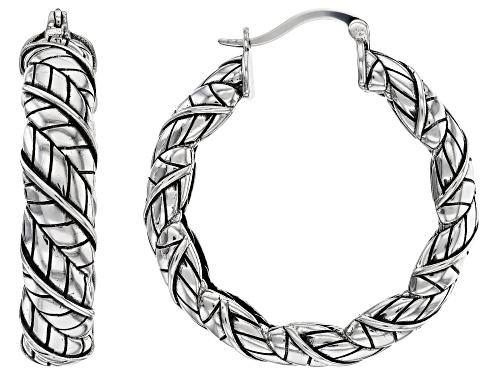 Photo of Southwest Style By JTV™ Rhodium Over Sterling Silver Wrapped Feather Hoop Earrings