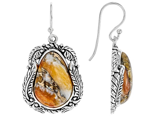 Photo of Southwest Style By JTV™ 18x12mm Pear Shape Spiny Oyster Shell Rhodium Over Silver Dangle Earrings