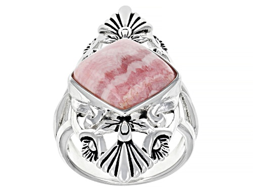 Photo of Southwest Style By JTV™ 12mm Square Cushion Rhodochrosite Rhodium Over Silver Solitaire Ring - Size 8