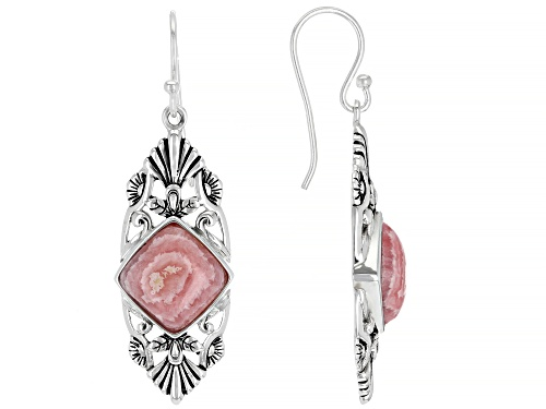 Photo of Southwest Style By JTV™ 10mm Square Cushion Rhodochrosite Rhodium Over Silver Dangle Earrings