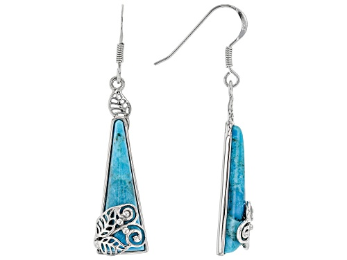 Photo of Southwest Style By JTV™ 26.5x9mm Turquoise Rhodium Over Silver Leaf Overlay Dangle Earrings