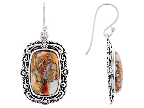 Photo of Southwest Style By JTV™ 16X10mm Spiny Oyster Shell Rhodium Over Silver Dangle Earrings