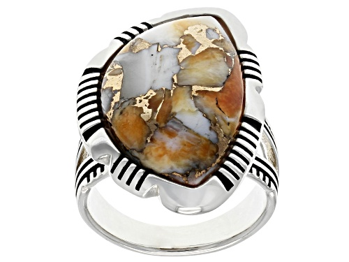 Photo of Southwest Style By JTV™ 23x14mm Custom Shape Spiny Oyster Shell Rhodium Over Silver Ring - Size 8