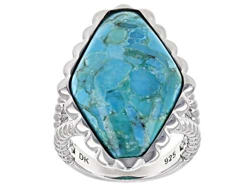 Photo of Southwest Style By JTV™ 28x16mm Custom Shape Turquoise Rhodium Over Silver Solitaire Ring - Size 7