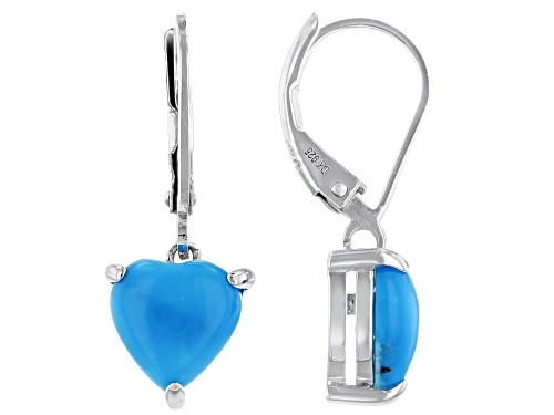 Photo of Southwest Style By JTV™ 8mm Heart Shape Sleeping Beauty Turquoise Rhodium Over Silver Earrings