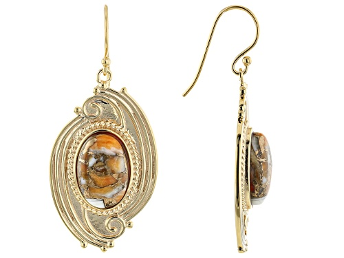 Photo of Southwest Style By JTV™ 15x10mm Oval Spiny Oyster Shell 18k Gold Over Silver Dangle Earrings