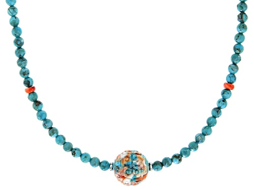 Photo of Southwest Style By JTV™ Blended Turquoise And Spiny Oyster Shell Rhodium Over Silver Bead Necklace - Size 18