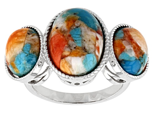 Photo of Southwest Style By JTV™ Blended Turquoise And Spiny Oyster Shell Rhodium Over Silver Ring - Size 8