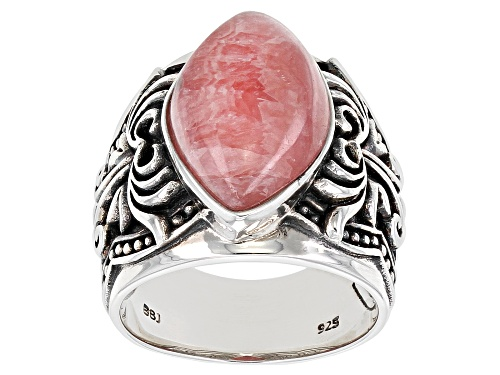 Photo of Southwest Style By JTV™ 18x10mm Custom Shape Rhodochrosite Rhodium Over Silver Solitaire Ring - Size 8