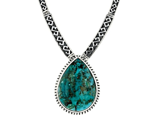 Photo of Southwest Style By JTV™ 34x25mm Pear Shape Turquoise Rhodium Over Silver Necklace - Size 18
