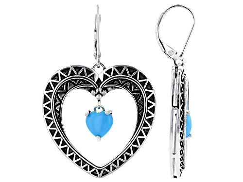 Photo of Southwest Style By JTV™ 7mm Sleeping Beauty Turquoise Rhodium Over Sterling Silver Heart Earrings