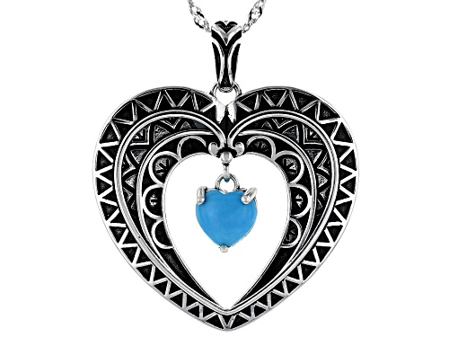 Photo of Southwest Style By JTV™7mm Sleeping Beauty Turquoise Rhodium Over Silver Heart Pendant With Chain