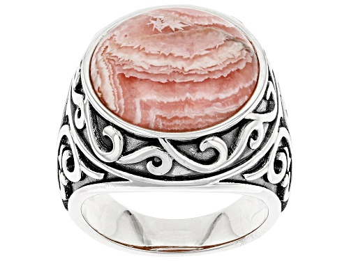 Photo of Southwest Style By JTV™ Rhodochrosite Rhodium Over Sterling Silver Ring - Size 8