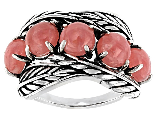 Photo of Southwest Style By JTV™ 6mm Round Rhodochrosite Cabochon Rhodium Over Silver Feather Ring - Size 8